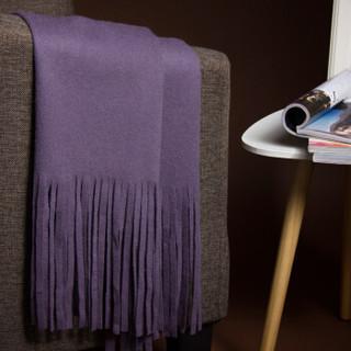 皮尔卡丹 羊毛剪穗女士围巾披肩两用 秋冬休闲百搭围脖 京配礼盒装 D21TM5335 紫色
