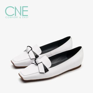 真适意 CNE 单鞋女 日系方头蝴蝶结套脚低跟 CNE 9T00801 白色 36
