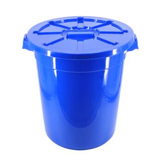 兰诗(LAUTEE)YY-D048 蓝色带盖圆形水桶 120L 工业用大桶