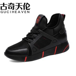 古奇天伦(GUCIHEAVEN)女士 韩版百搭休闲内增高运动跑步鞋 8930 黑红色 34