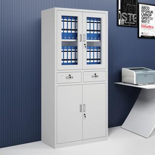 荣将 文件柜 钢制办公资料柜档案铁皮财务凭证票据带锁抽屉储物柜 加厚款二斗玻