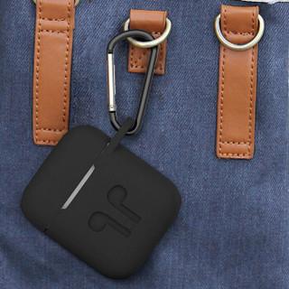 技光(JEARLAKON)苹果AirPods保护套1/2代硅胶 手机无线蓝牙耳机套 出行防摔收纳盒防丢带挂钩配件黑色