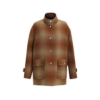 设计师品牌 LUCIEN WANG 棕色渐变格纹羊毛夹克 棕色格纹 L