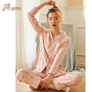 顶瓜瓜 睡衣女纯棉卡通甜美 韩版宽松长袖家居服套装ZY69012 粉色 170