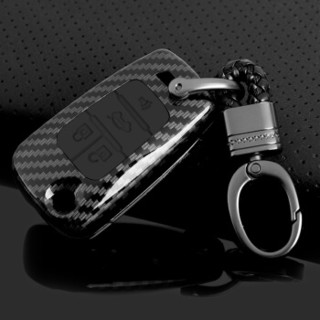 华饰 雪佛兰钥匙包 适用于科鲁兹迈锐宝科沃兹赛欧3汽车钥匙套壳 汽车用品 雪佛兰改装用 C款-折叠四键-全黑