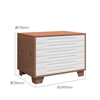 金经金属底图柜有轮子抽屉柜钢制移动工程图纸柜多抽资料柜1号六抽咖啡白色一字长拉手单节