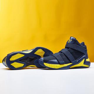 乔丹 篮球鞋男高帮耐磨减震透气运动鞋战靴男 XM3580106 学院蓝/明黄 44.5