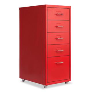 欧宝美抽屉A4文件矮柜办公储物五层斗收纳柜红色