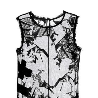 设计师品牌 JDX (x) HAIZHENWANG 连衣裙 胶囊系列 刺绣蕾丝网纱 长裙 黑色 8