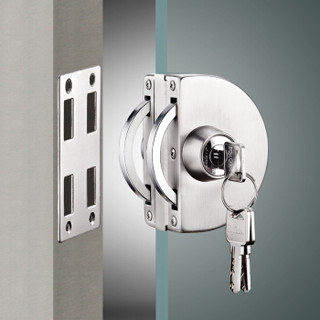 飞球(Fly.Globe)玻璃门锁单开免开孔安装304不锈钢  FQ-03B