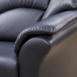 隆旭 办公家具办公沙发茶几组合办公室沙发会客沙发接待沙发 黑色 牛皮3+1+1 S-389