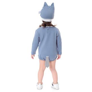 馨颂婴儿长袖连体衣三角哈衣爬服帽子套装内衣外出服 天青蓝 90