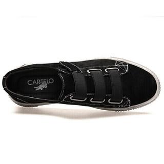 卡帝乐鳄鱼(CARTELO)韩版潮流板鞋男低帮套脚魔术贴运动休闲鞋时尚单鞋子男1702 黑色 39