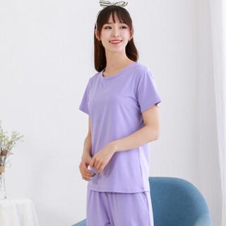 小护士 睡衣家居服 男女士夏季可外穿短袖家居服ZST008宽松 浅紫 L(170/100)