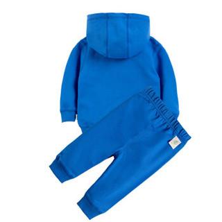 迪士尼(Disney)童装男女秋季套装纯棉外出服纯色宝宝带帽卫衣套装153T639 蓝色 90cm