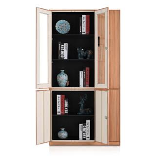 洛克菲勒 六门胡桃木全转印文件柜办公档案文件柜铁皮对开门仿木纹财务储物柜转印资料柜