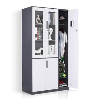 洛克菲勒 五门文件柜 铁皮柜办公柜档案柜灰套白带锁