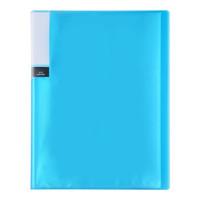 日本TANOSEE办公高透明亮彩文件夹/资料册/收纳袋 A4/24袋收容 蓝色 1册装TPCBA4-24B