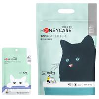 好命天生(Honeycare)豆腐猫砂6L(2.6Kg)+猫砂伴侣200g 玉米植物猫砂除味结团无尘猫砂可冲厕所