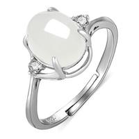 凤禧珠宝和田玉戒指银镶白玉戒子圆形求婚戒送老婆节日礼物