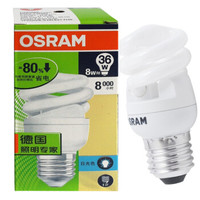 欧司朗(OSRAM)T2全螺节能灯 E27大口 暖白色 8W 2700K 八支装