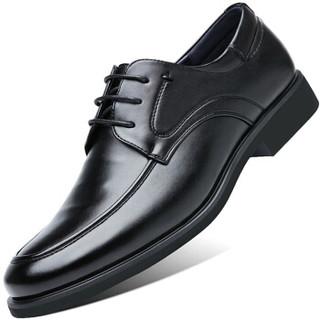 伊施玛雅(Ishmaiah)皮鞋男士舒适商务休闲鞋英伦正装鞋系带透气休闲鞋子 1607 黑色 41