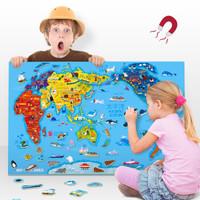 TOI世界地图磁性儿童拼图4-12岁男女孩磁力拼板擦写白板玩具