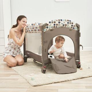 VALDERA瓦德拉婴儿床多功能可折叠摇篮床新生儿便携式宝宝床游戏bb床带蚊帐 9091棕色杏色豪华款