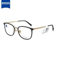 ZEISS 蔡司 ZS-85016-F091 钛材+板材 金色框架磨砂黑圈镜框