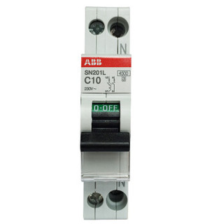 ABB进口断路器 1P+N 10A空气开关紧凑型微型空开 双进双出 SN201L-C10