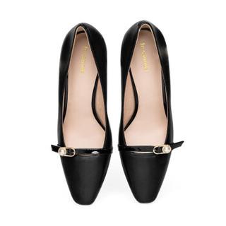 莱尔斯丹 le saunda 时尚豹纹珍珠饰物方头套脚高跟女单鞋 LS 9T80102 黑色 36