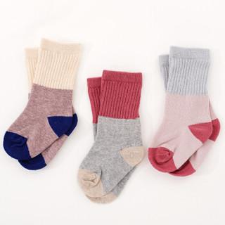 象宝宝(elepbaby)婴儿袜子 新生儿宝宝春秋袜子儿童宽松口中筒袜英伦款3双装0-1岁
