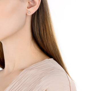 周生生 CHOW SANG SANG 18K金耳钉白色黄金钻石耳环单只耳饰 89758E