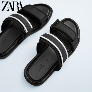 ZARA 12718520040 男士黑色双带饰拖鞋