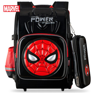 漫威(MARVEL)迪士尼小学生书包男生 6-12周岁儿童双肩包 送同款笔袋 BA5259B 黑红