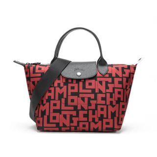 LONGCHAMP 珑骧  珑骧 LONGCHAMP 女士LE PLIAGE LGP系列织物短柄手提单肩包饺子包黑色砖红色字母图案中号 1515 412 C09