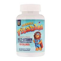 Vitables 儿童复合维生素咀嚼片 瓶装120片 复合维生素+益生菌和酶(什果味) *3件