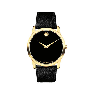 摩凡陀(Movado)官方旗舰店 瑞士手表 博物馆系列 MUSEUM CLASSIC 男士石英金色手表 皮带腕表礼盒装0607014