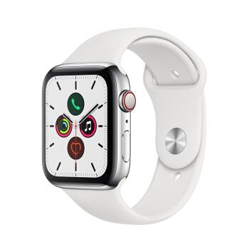 Apple Watch Series 5智能手表(GPS+蜂窝网络款 44毫米不锈钢表壳 白色运动型表带 )