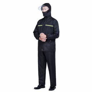 劳保佳 抗洪救灾雨衣雨裤套服 成人分体式劳保套装安全反光套服消防分体雨衣 黑色 XXXL