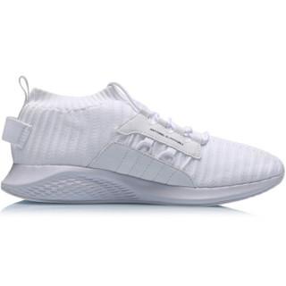 李宁 LI-NING 2019新品女子一体织减震回弹潮流休闲鞋AGLP072-3 标准白 35.5