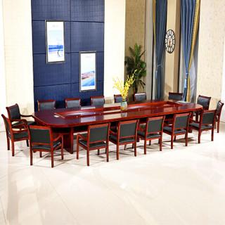 佐盛办公家具油漆贴实木皮大型会议桌办公桌洽谈桌培训桌椅会客桌大办公桌 4.5米