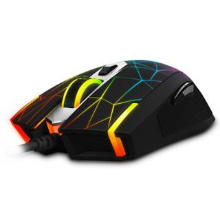 雷柏(Rapoo) V26S 鼠标 有线鼠标 游戏鼠标 RGB鼠标 电竞鼠标 吃鸡鼠标 鼠标宏定义 黑色星辰版 自营