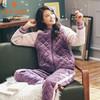 多拉美 DOLAMI 睡衣女冬季珊瑚绒夹棉拉链棒球服加厚保暖三层法兰绒冬家居服套 DL862019 深紫 M