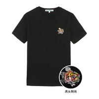 马克华菲2020夏季新款男式T恤圆领虎头刺绣纯棉短袖上衣