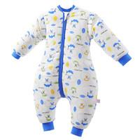 象宝宝(elepbaby)婴儿睡袋秋冬款加厚全棉分腿睡袋宝宝儿童防踢被 炫酷宝贝蓝色(可脱袖5-15℃) L码(建议身高85-95CM) *3件