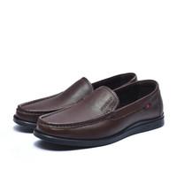 富贵鸟(FUGUINIAO) 男士商务休闲皮鞋低帮套脚英伦潮A894612 暗棕 39