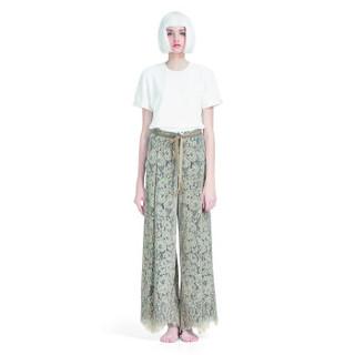 设计师品牌 HAIZHENWANG 米色蕾丝阔腿裤 米色 L