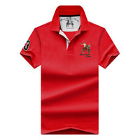 耐格斯顿 男士短袖t恤修身半袖翻领 红色 XL