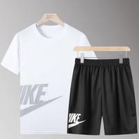 耐格斯顿 夏季短袖t恤男运动套装 白色 M